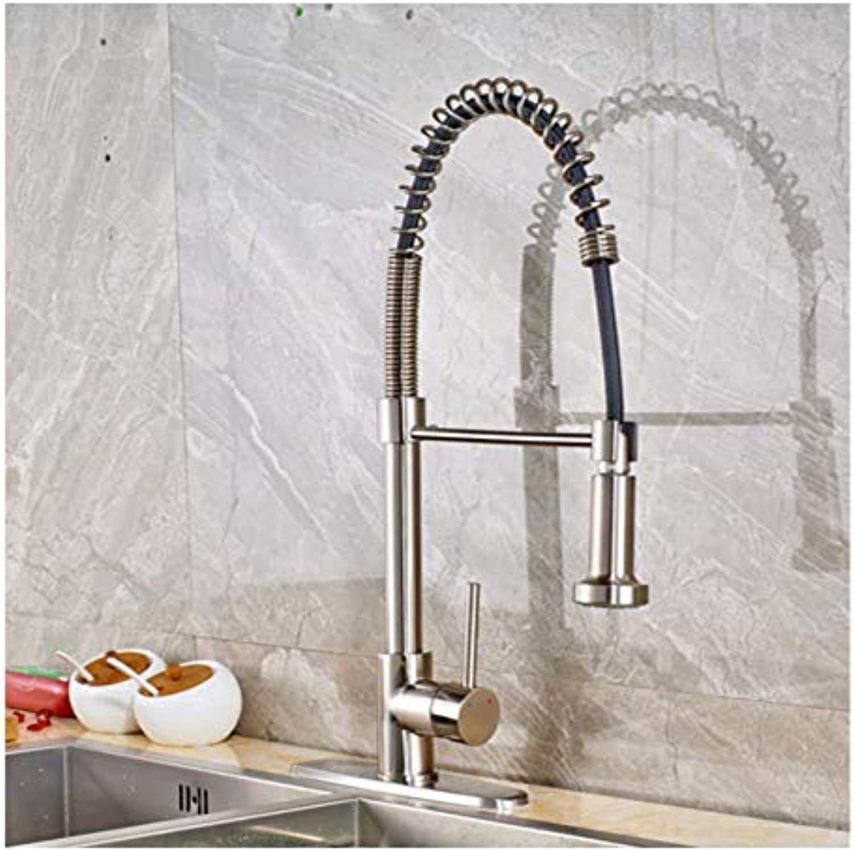 LLLYZZ schwarz Bronze Spring Kitchen Wasserhahn Einhandgriff 2-Funktions-Wasserauslass Pull Down Küchenmischer mit heiem und kaltem Wasser