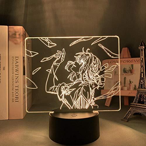 LBINGKJ Decoração de anime 3D para meninos e meninas Luz noturna Anime LED Evergarden para decoração de quarto Violeta luz noturna presente de aniversário infantil lâmpada de mesa 3D 16 cores com controle remoto