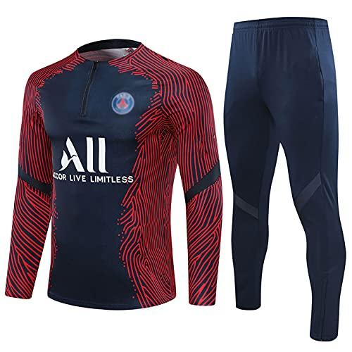 WZH-ZQQY Traje De Entrenamiento De Fútbol del Club De Campeonato Europeo Traje De Depresión Azul Transpirable (Chaqueta + Pantalones) -kpl-c1477(Size:L,Color:Azul)