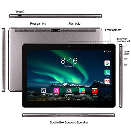 Tablet Android 10.0 - TOSCIDO Tablets 10 Zoll 4 GB/RAM,64 GB/ROM Tablet PC,Dual SIM,WiFi Unterstützung Bluetooth Tastatur |Maus|X109 Tablet Cover und Mehr Enthalten - Grau