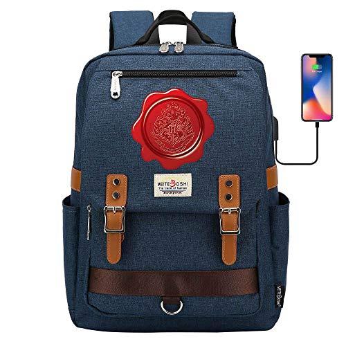 Stilvolle Laptop-Rucksack, Harry Potter Outdoor Sport Abenteuer Reise Rucksack, Hogwarts Freizeit Schultasche Krise Marineblau