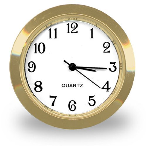 Clock Insert in Popular 1-7/16' Size Has an Easy-to-Read Arabic Dial and Glass Crystal