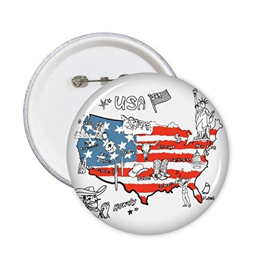 DIYthinker Amerika Kaart Vlag Landmark Standbeeld van Vrijheid Woord Illustratie Patroon Ronde Pin Badge Knop 5 Stks M