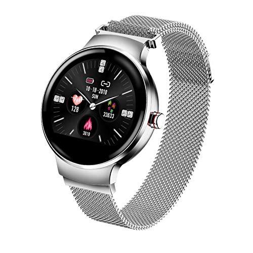 Smartwatch voor dames, Android wear, fitnessarmband, hartslagmeter, stappenteller, stopwatch, Zilver.