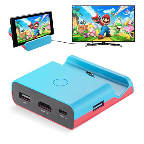 Powerextra Base de Carga para Nintendo Switch, Modo Dual Convertidor TV y Switch Base Portatil con Puerto 4K HDMI Adaptador, Type-C, USB 3.0 y 2.0 (Azul)