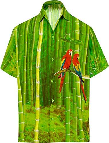 LA LEELA Casual Hawaiana Camisa para Hombre Señores Manga Corta Bolsillo Delantero Surf Palmeras Caballeros Playa Aloha XXL-(in cms):137-149 Verde_W596