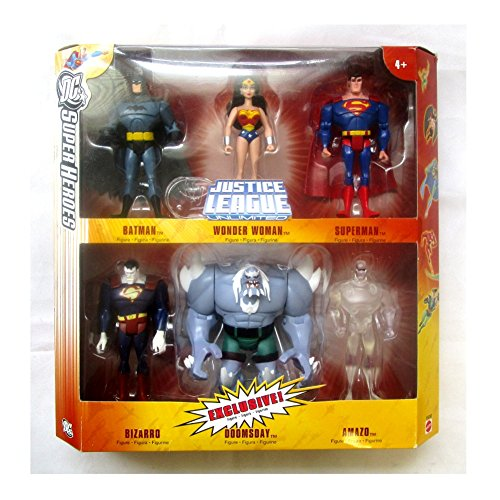 DC Super Heroes Justice League Unlimited Exclusive Action Figure 6-Pack (Superman, Wonder Woman, Batman, Bizarro…