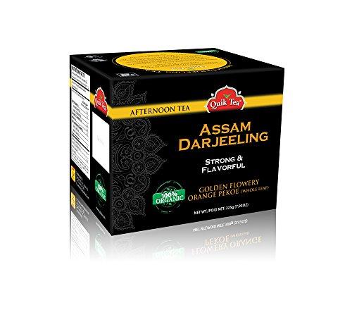 QuikTea Organic Assam Darjeeling Loose Leaf Tea - Single Box 225 grams - All Natural Organic Preservative Free Loose Leaf CTC Tea with Assam Darjeeling