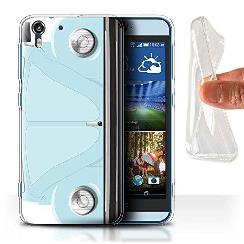 Custodia/Cover/Caso/Cassa Gel/TPU/Prottetiva STUFF4 stampata con il disegno Retrò Maggiolino per HTC Desire Eye LTE - Blu Marina