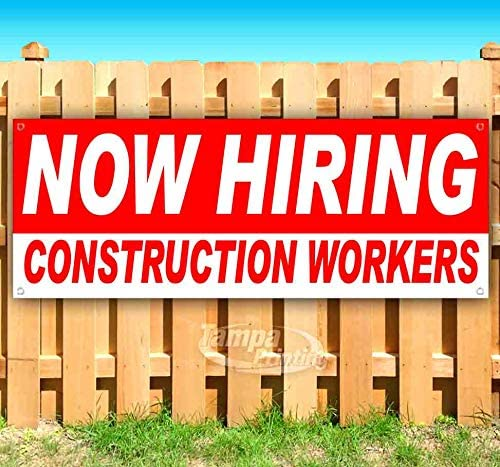 Now Hiring Construction Workers 13 Heav Shipping included Non-Fabric Cheap bargain Banner oz