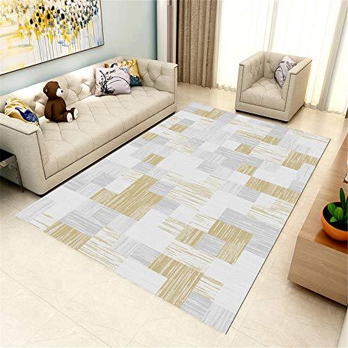 RUGMYW Suelo Laminado alfombras de Salon Baratas Patrón geométrico Amarillo Gris Blanco alfombras baño Antideslizante 150X200cm