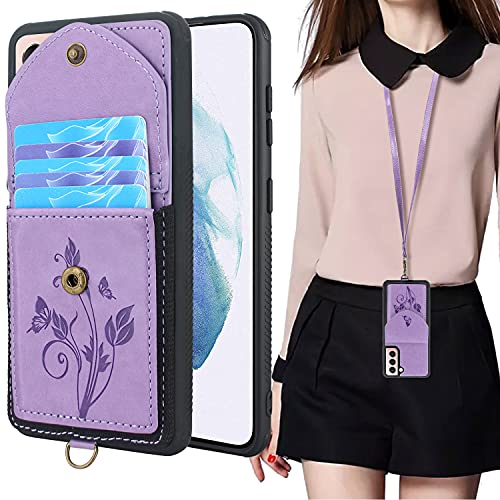Lacass for for Samsung Galaxy S21 5G G991U 6.2 inch Case Slim Leather Wallet Protective Cover with Elastic Pocket Credit Card Slot Holder Detachable Neck Lanyard Strap (Butterfly Light Purple)