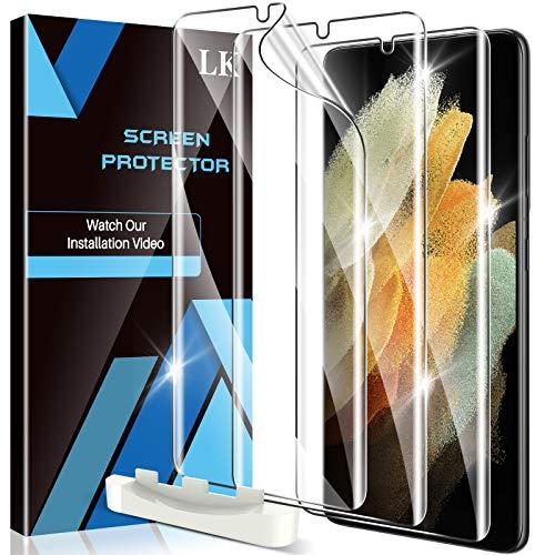 LK 3 Stück Schutzfolie Kompatibel mit Samsung Galaxy S21 Ultra & S21 Ultra 5G, Klar HD Weich TPU Bildschirmschutzfolie Fingerabdruck-ID unterstützen Blasenfreie