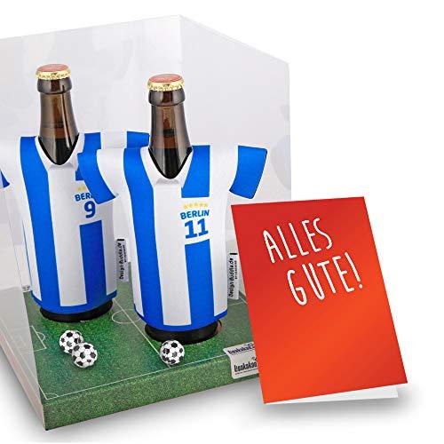 my fan shirt vereins-Trikot-kühler Away für Hertha BSC Fans   2er Geschenk-Box-Edition  2X Trikots   Fußball Fanartikel Jersey Bierkühler by ligakakao.de