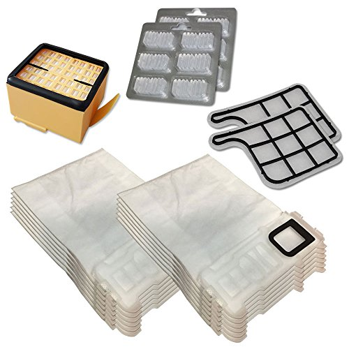 12bolsas de microfibra + 12Ambientadores + 2Filtros EPA + 2Filtros Motor para Folletto VK 135136Aspiradora Vorwerk Ambientadores
