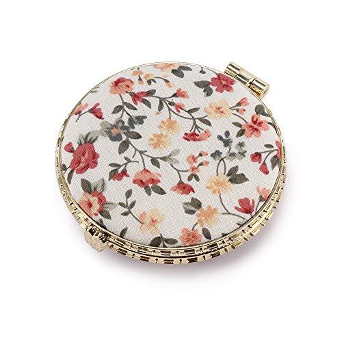FORNORM - Espejo de maquillaje de bolsillo con diseño floral, compacto y personalizable, de 7 cm de diámetro y colores aleatorios