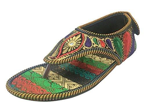 Step n Style Damen Perlen Sandalen Ethnische Sandalen Traditionelle Multi Sandalen Indische Juttis, (mehrfarbig), 39 EU