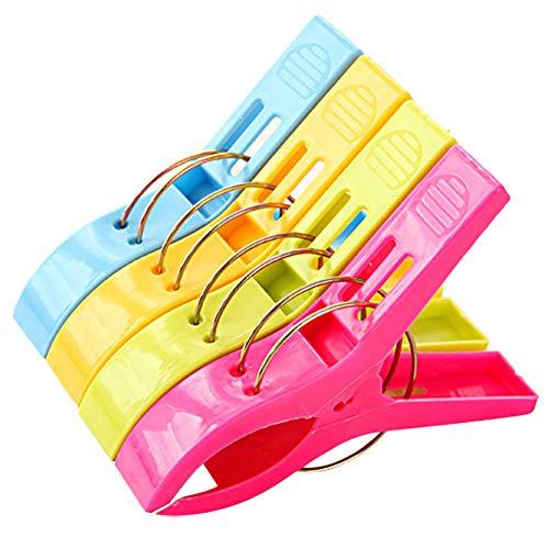 Demarkt–4PCs Grandes Pinzas de Ropa Toalla Pinzas Playa sujetamanteles Toallas de Mano Towel Clips para Diario, Ropa Grande Playa Toalla de baño, Pesado Color Aleatorio