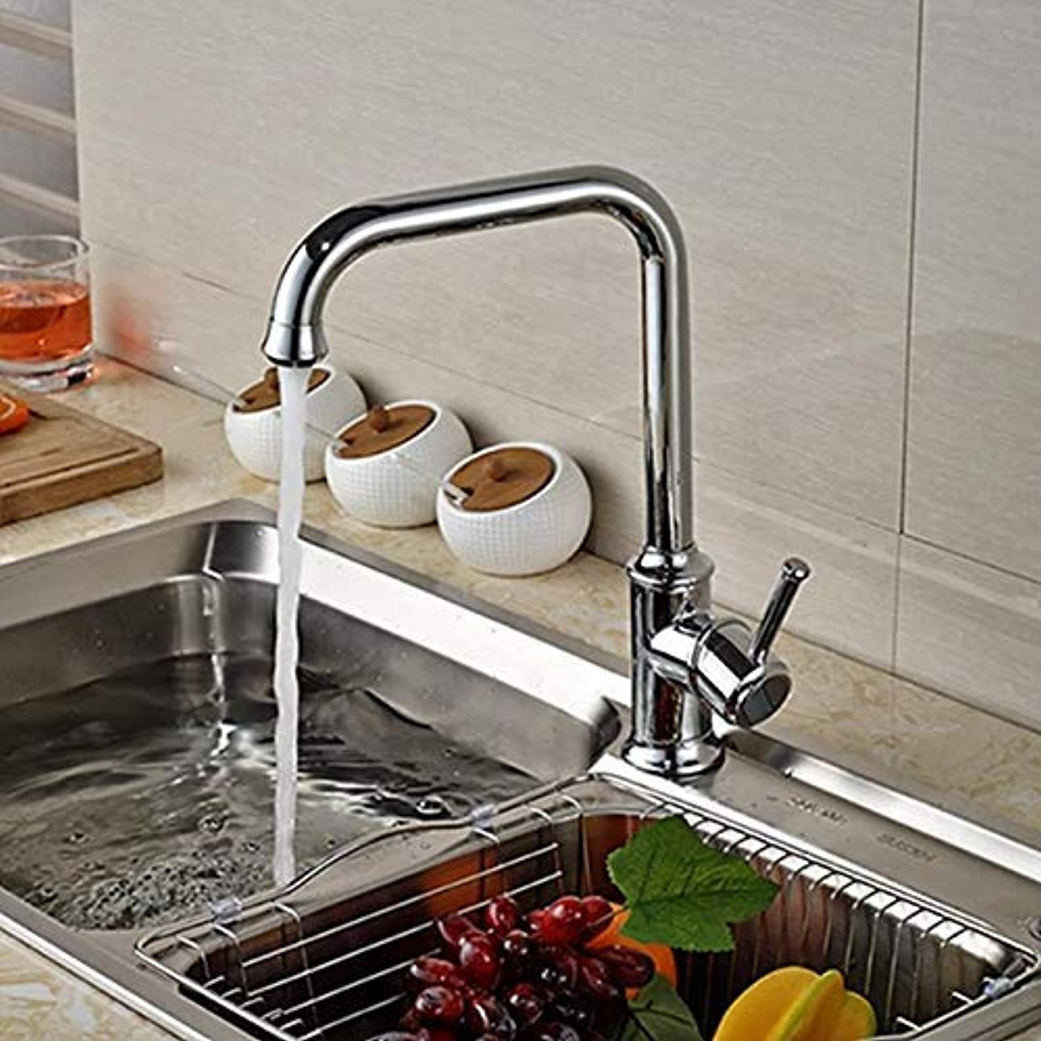 Oudan Wholesale and Retail Polished Chrome Brass Kitchen Faucet Swivel Spout Vessel Sink Single Lever Mixer Tap Hole (color   -, Size   -)
