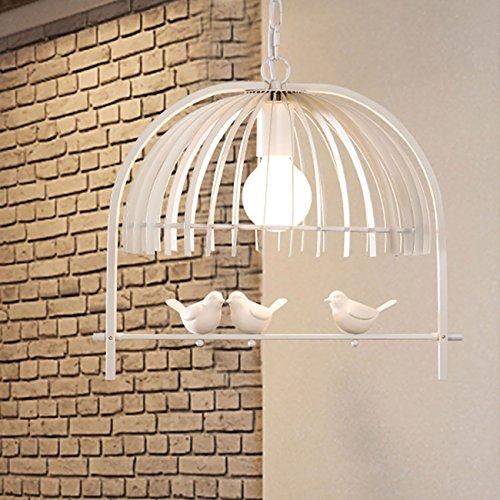 Elegante lampadario in ferro creativo a forma di gabbia di uccello, lampada da soffitto a sospensione, con uccelli bianchi