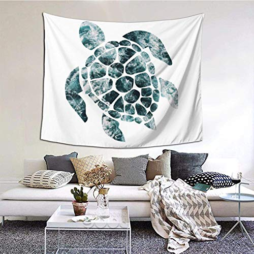 Tapiz para colgar en la pared, diseño de tortuga marina, color turquesa, olas del océano, 156 x 150 cm, para colgar en el dormitorio, sala de estar, decoración del hogar