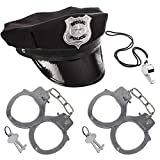 3 otters Police Accessories, Police Hat Party Cosplay with Whistle & Handcuffs Costume Accessories Police Set for Kids, 4 PCS