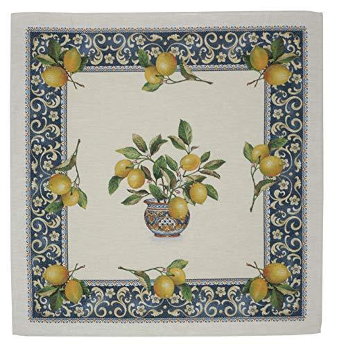 Bezaubernde Gobelin-Tischdecke, Landhaus mit Zitronen, Lima, elegant und zeitlos (100 x 100 cm)