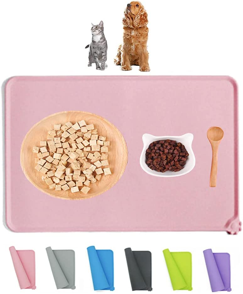 Love Dream Silicone Pet Feeding Mat, Waterproof Dog Cat Bowl Mat, Raised Edges to Prevent Spills, Easy Clean Nonslip Dogs and Cats Placemat Tray to Stop Food and Water Bowl Messes on Floor