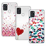 Young & Min Funda para Samsung Galaxy A21s, (3 Pack) Transparente TPU Silicona Carcasa Delgado Antigolpes Resistente, Amor