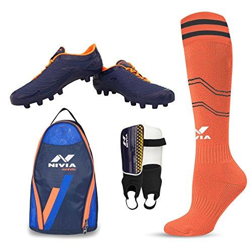 Nivia Football Kit Combo of Dominator Shoe (6), Shin Guard, Stocking and Shoe Bag