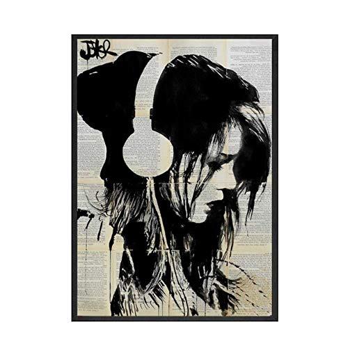 Cool skateboard meisje vintage poster functie op de krant effect print muur foto's voor woonkamer decoratie home decor, c.no border standaard, 30x40cm geen frame
