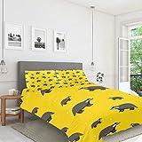 FCZ Juego de funda de edredón de terciopelo de 3 piezas para niños, diseño de tejón, color amarillo
