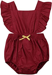 5Colors Infant Baby Girl Romper Outfits Ruffles Solid Cotton Bodysuit Jumpsuit One-Piece Clothes for Toddler Girl (6-12 Months, Wine Red)