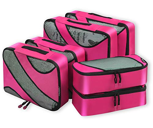 Bagail 6 Set Packing Cubes,3 Various Sizes Travel Luggage Packing Organizers(Fushcia)