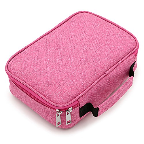 BTSKYHigh Capacity Zipper Pens Pencil Case- Multi-Functional Stationery Pencil Pouch 72 Slots Colored Pencil Case Portable Pencil Bags With 2 Removable Sleeves(Pink)