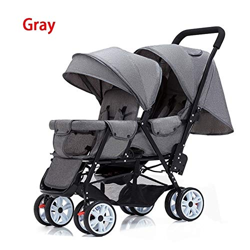 Review Of ZHAGNFL Twin Stroller Double Stroller Lightweight Folding Front and Rear Seats can sit and...
