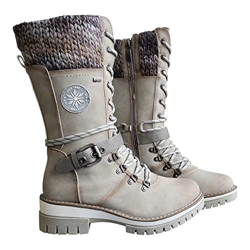 Brawdress Women Buckle Lace Knitted Mid-Calf Boots Low Heel Round Toe Boots Womens Winter Casual Shoes Stylish