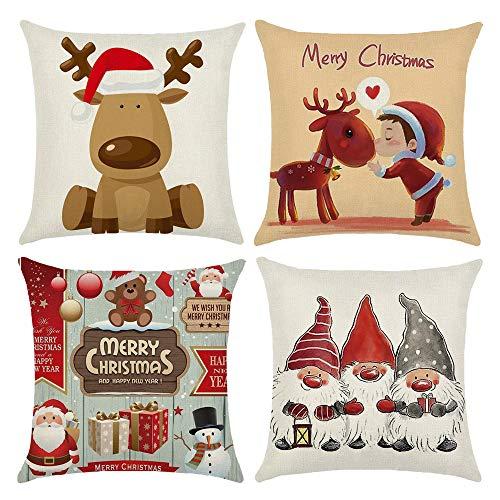 4 federe natalizie per cuscino, in cotone e lino, motivo natalizio con renna e Babbo Natale, per decorazioni natalizie, 40 x 40 cm