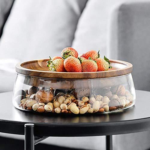Tarro de almacenamiento de alimentos de cristal con tapa de madera, diseño...