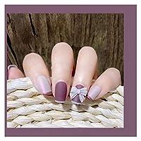 人気 24個の偽の爪のマットの短いサイズの丸い頭のフルカバーマニキュアパッチの偽の短い爪の女の子のための短い爪 (Color : With box)