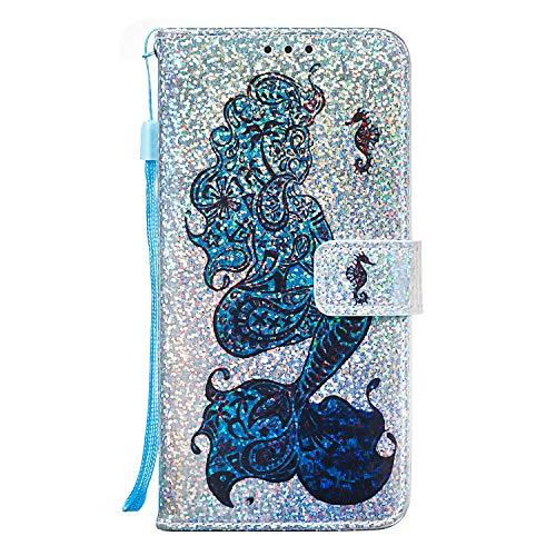 Samsung Galaxy A70e telefoonhoesje, 3D Bling Glitter PU lederen portemonnee hoesjes Flip TPU bumper schokbestendig Shell Slim Fit Notebook beschermhoes voor Samsung Galaxy A70e met standaard magnetische sluiting Samsung Galaxy A70e Zeemeermin