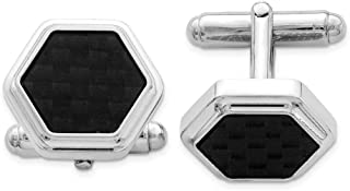 925 Sterling Silver Hexagon Black Carbon Fiber Cufflinks Cuff Link Man Fine Jewelry Gift For Dad Mens For Him