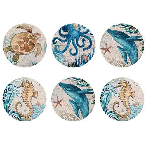 Showudesigns Lot de 6 dessous de verre ronds absorbants pour boissons Ocean Animal