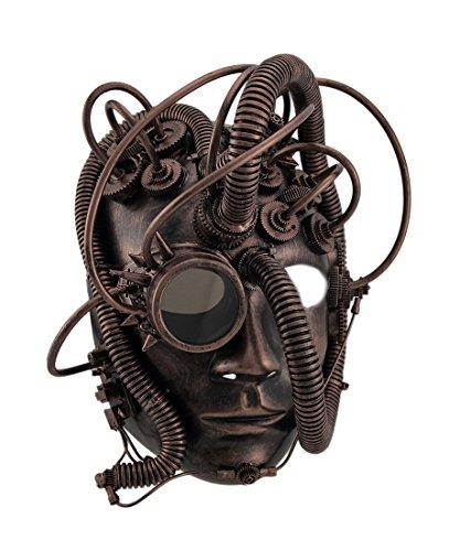 Zeckos Herren Droid Full Face Steampunk Cyborg Kostüm Maske mit Brille -  Braun -  Einheitsgröße