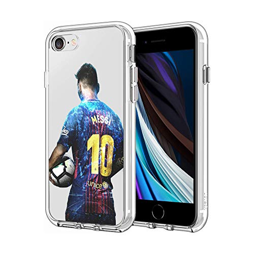 Silicone Case for iPhone 7 / iPhone 8 iPhone SE, Clear Case Silky-Soft Touch Full-Body Protective Case (Messi-FCB)