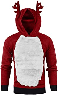 Winter Warm Novelty Fashion Hoodie Men Plus Velvet Christmas Cute Attractive Dress Up Hooded Tops