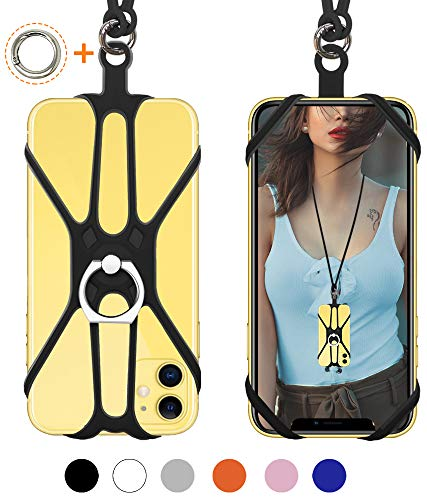 SHANSHUI Phone Lanyard, 2 in 1 Detachable Neck Strap Silicone Case Holder with Ring Stand Grip Compatible with iPhone, Samsung Galaxy and Most Smartphones (Black)