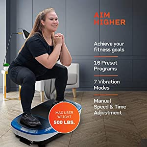 LifePro Rumblex Max 4D Blue Vibration Plate Exercise Machine with Loop Resistance Bands - Full Body Workout Equipment for Home Fitness, Shaping, Training, Recovery, Weight Loss