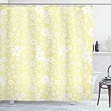 Duschvorhang Blumen Duschvorhang wasserdichte grafische Gänseblümchen-Blüten-Design auf gelbem Hintergr& Frühlingsblumen Badevorhang