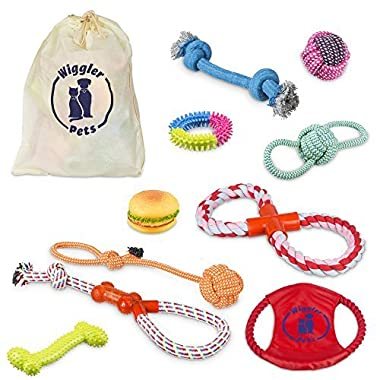 10 Pack Dog Toys Set by Wiggler Pets | Durable Rope Chew Squeaky Toy Value Pack for Small Puppy and Medium Doggie | Interactive Tug of War Outdoor Toys | Exercise Toys Variety Bundle for Dogs
